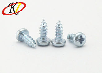 China Cross Recessed / Phillips Drive Pan Head Self Tapping Screws With Blue - White Zinc Plated supplier