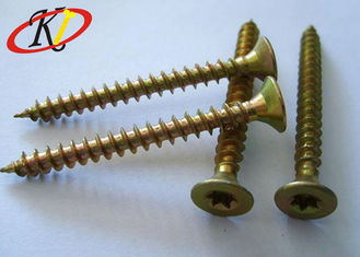 China Yellow Zinc Double Countersunk Head Screw , Torx / Square Drive Chipboard Flooring Screws supplier