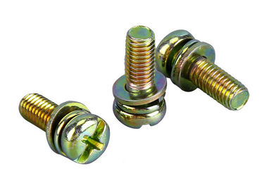 China Yellow Zinc Phillips M6 Pan Head Bolts With Flat Washer / Spring Washer supplier