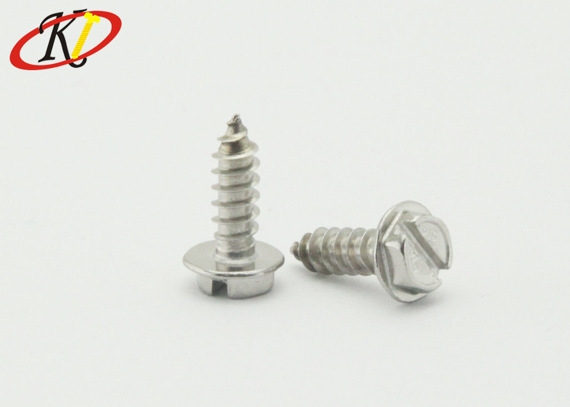 Stainless Steel Slotted Indented Hex Washer Head Self Tapping Screws