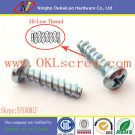 Zinc Plated Phillips Pan Head High Low Thread Screws for Plastic