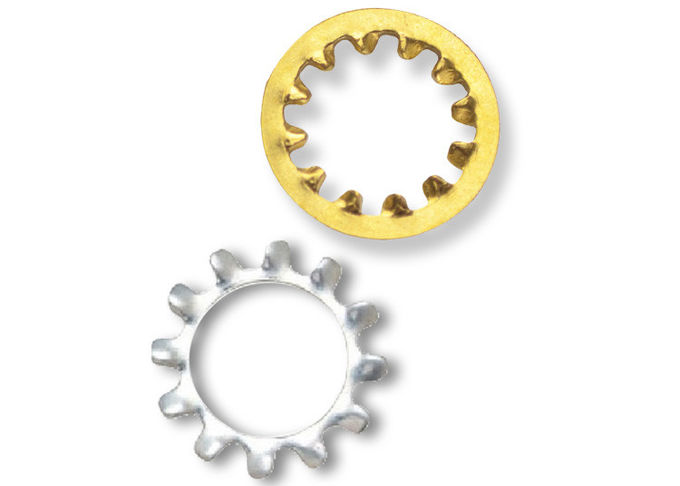 Yellow Zinc Plated Internal Shakeproof Washers / Internal Tooth Lock Washers