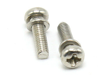 18-8 Phillips Pan Head Stainless Steel SEMS Screws OEM / ODM Available