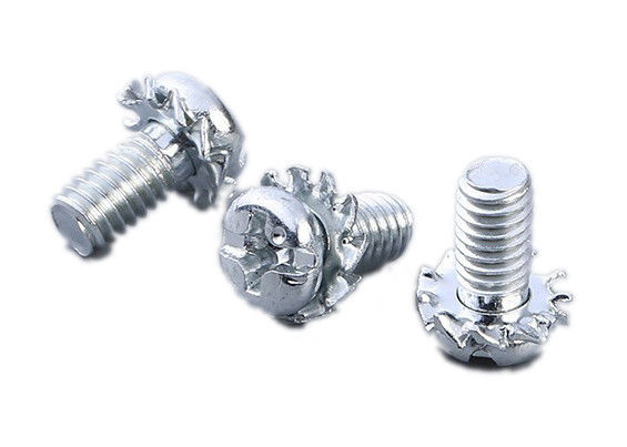Phillips Slotted Pan Head Screw , M4 Pan Head Bolt With Tooth Washer